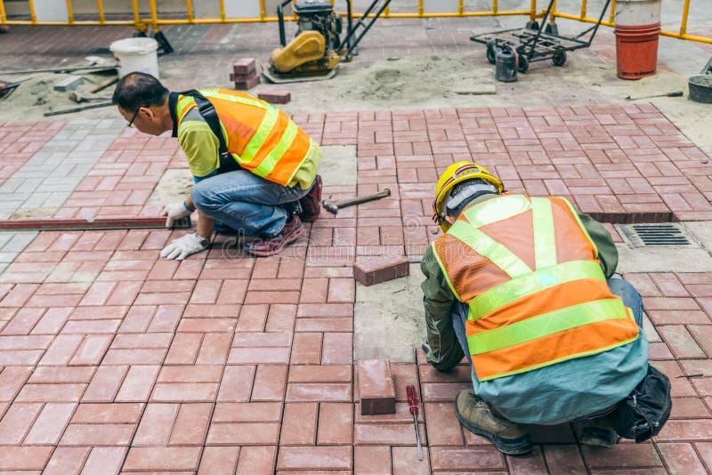 Bricklayers at work royalty free stock photo