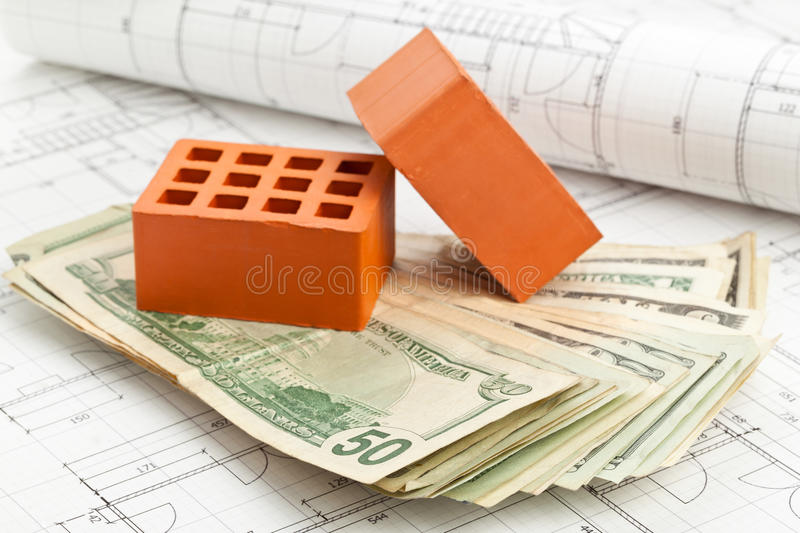 Bricks On Construction Plan Royalty Free Stock Photography