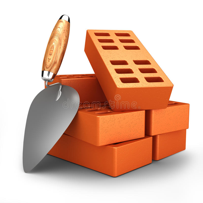 Download Bricks and trowel stock illustration. Image of orange - 33269407