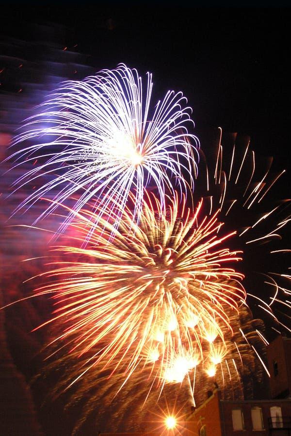 Download Bricktown Fireworks I stock photo. Image of aerial, illumination - 164254