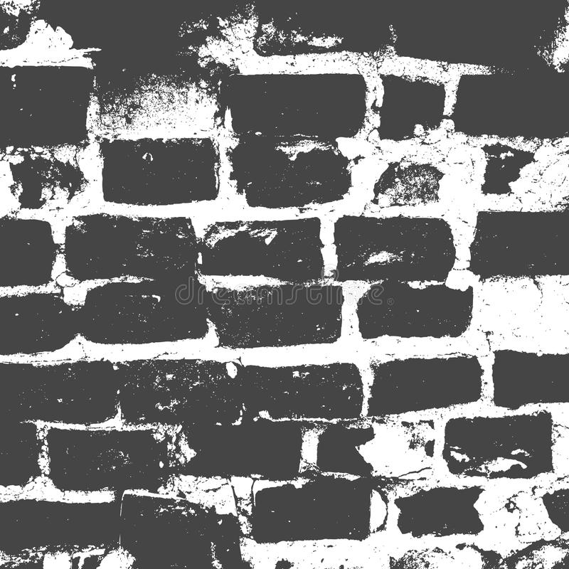 Brickwork, brick wall of an old house, black and white grunge texture, abstract background. Vector. Illustration royalty free illustration