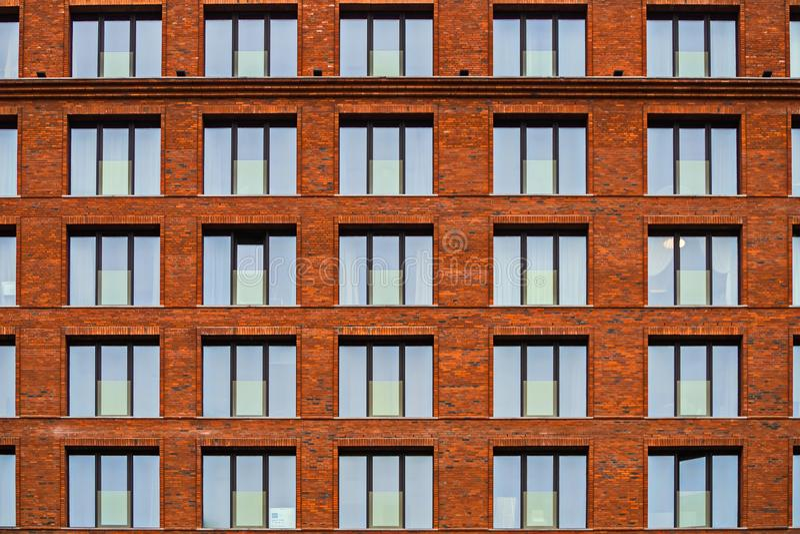 Brickwork fasada budynek mieszkalny w loft stylu fotografia royalty free