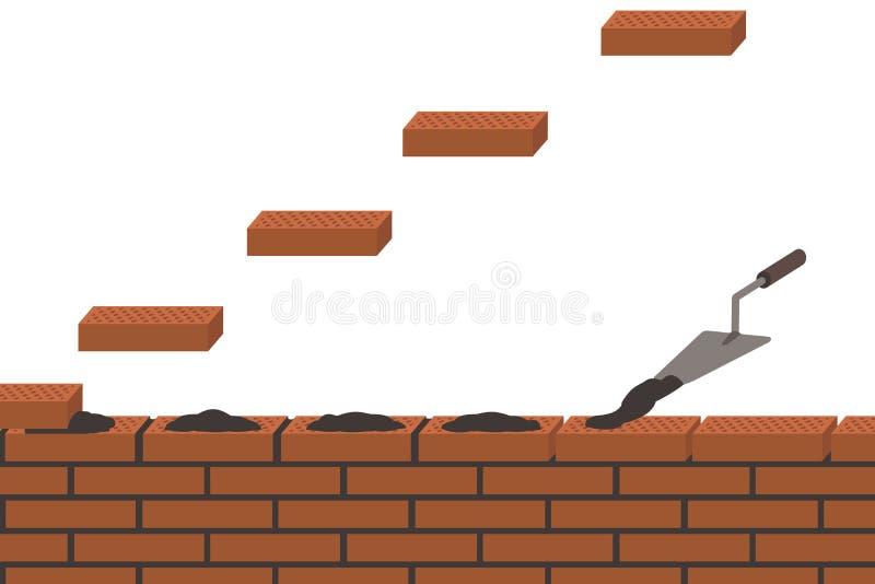 Brickwork, wall construction, white background royalty free illustration