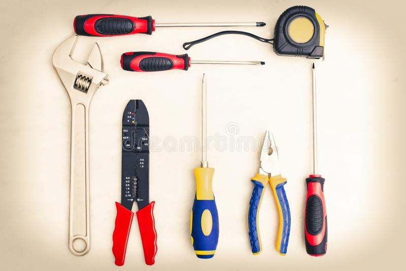 Bricolage and construction tools. In white background royalty free stock image