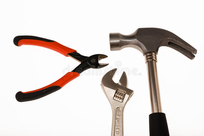Bricolage tools. On white background royalty free stock photography
