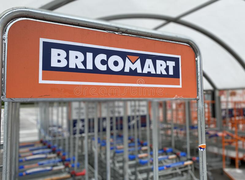 Bricomart sign on store in Asturias, Spain stock photo