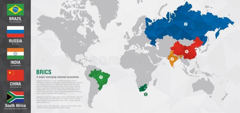 BRICS与映象点金刚石纹理的世界地图 库存图片