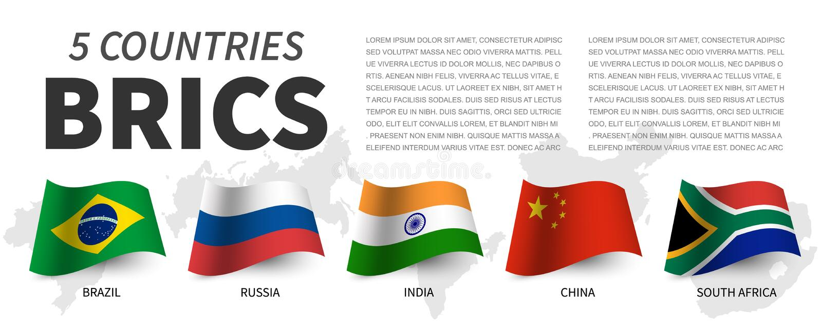 BRICS . Association of 5 countries and flags  and map . Waving flag design . Vector royalty free illustration
