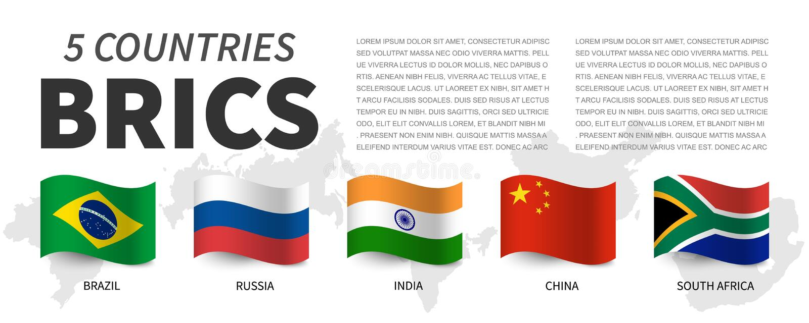 BRICS . Association of 5 countries and flags  and map . Waving flag design . Vector vector illustration