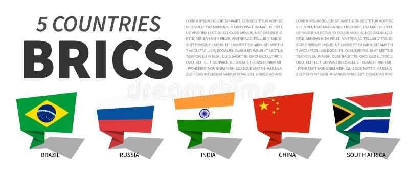 BRICS . Association of 5 countries . Speech bubbles design . Vector stock illustration