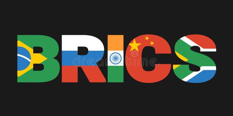 BRICS - Brasil, Rússia, Índia, China e África do Sul ilustração royalty free