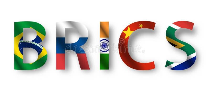 BRICS characeter met het golven vlagontwerp Vector stock illustratie