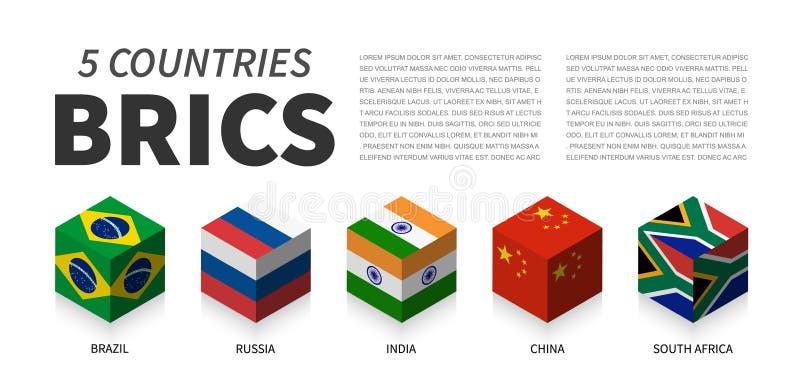 BRICS flag . Association of 5 countries . 3D cubic isometric top design . Vector vector illustration