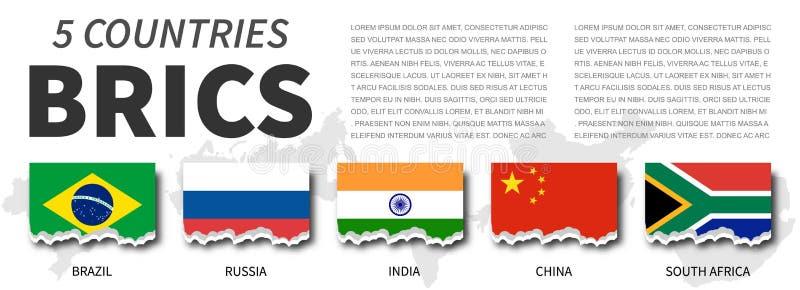 BRICS and membership . Association of 5 countries . Torn flag design . Vector vector illustration