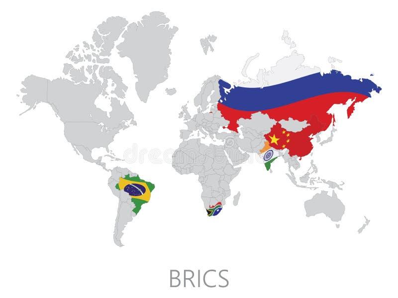 BRICS sulla mappa di mondo illustrazione di stock