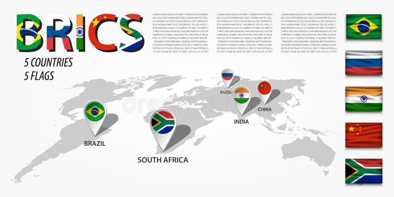 BRICS vereniging van 5 landen Brazilië Rusland India China Beroemde wijngaard Kanonkop dichtbij schilderachtige bergen bij de len royalty-vrije illustratie