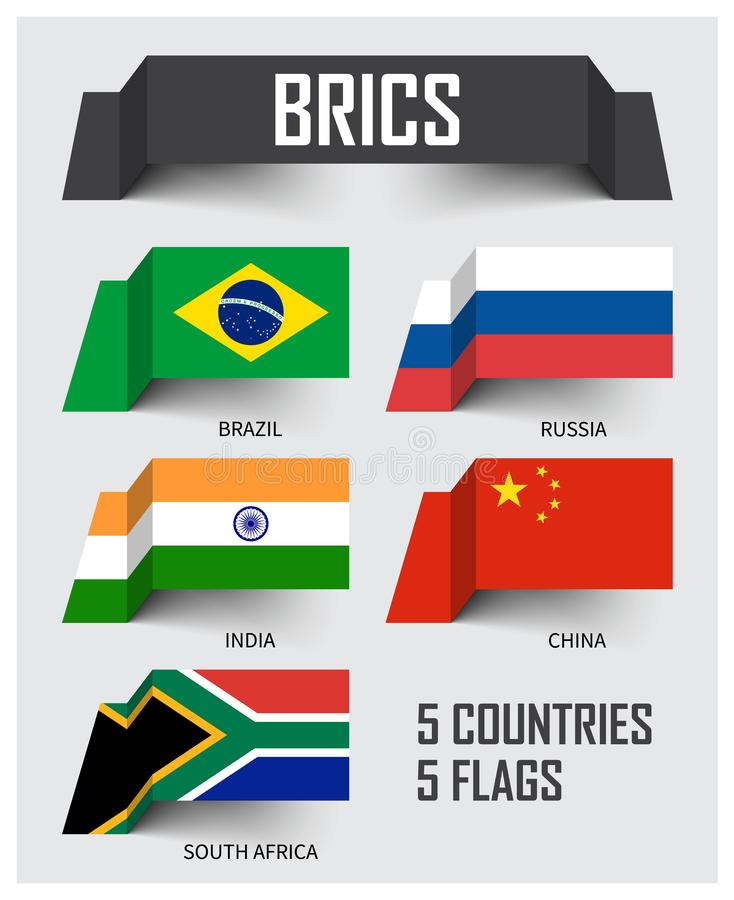 BRICS Vereniging van 5 landen Brazilië Rusland India China Zuid-Afrika Het drijven document vlaggenontwerp Vector vector illustratie