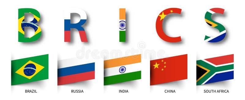 BRICS Vereniging van 5 landen en vlaggen Geïsoleerde achtergrond Vector royalty-vrije illustratie