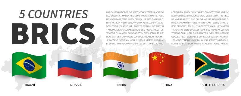 BRICS Vereniging van 5 landen en vlaggen en kaart Het golven vlagontwerp Vector vector illustratie
