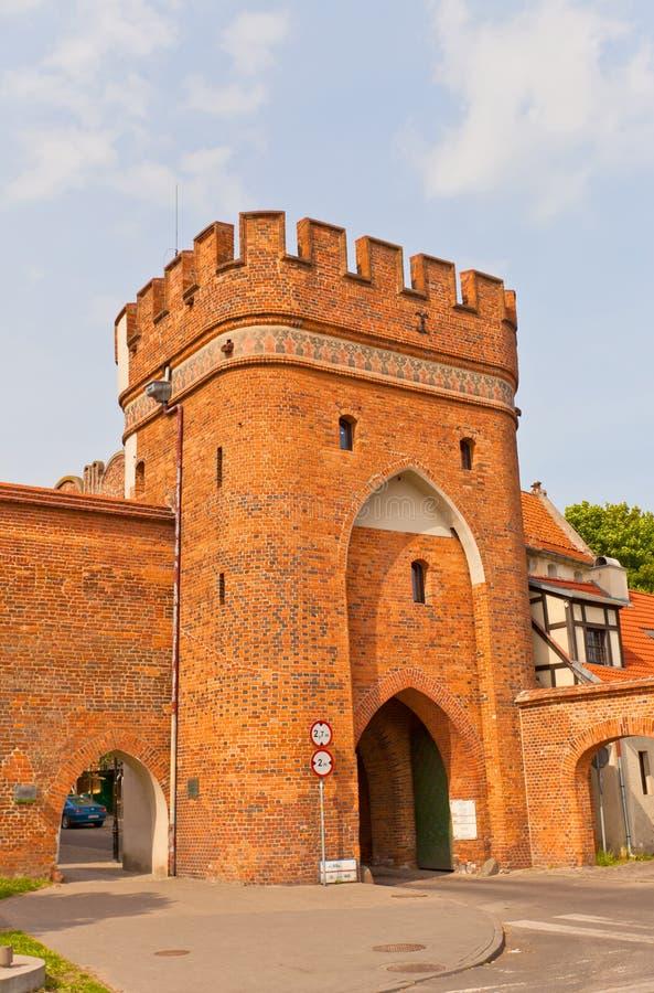 Bridżowa brama Toruński miasteczko, Polska (około 1432) zdjęcia stock