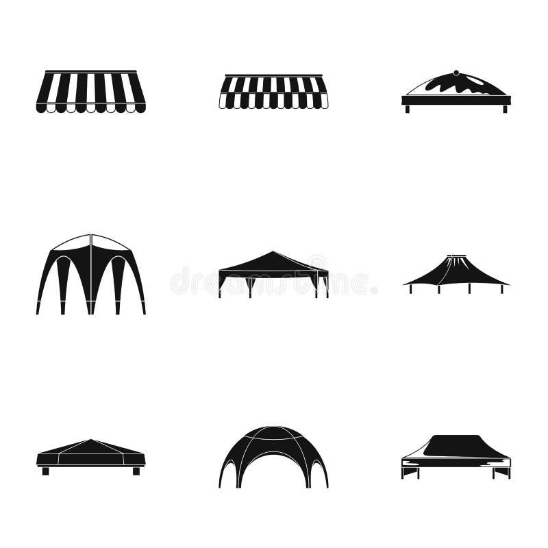Bridżowe baldachim ikony ustawiać, prosty styl ilustracji