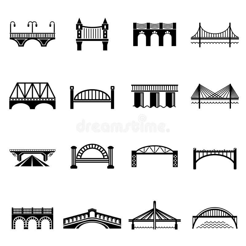Bridżowe ikony ustawiać, prosty styl royalty ilustracja
