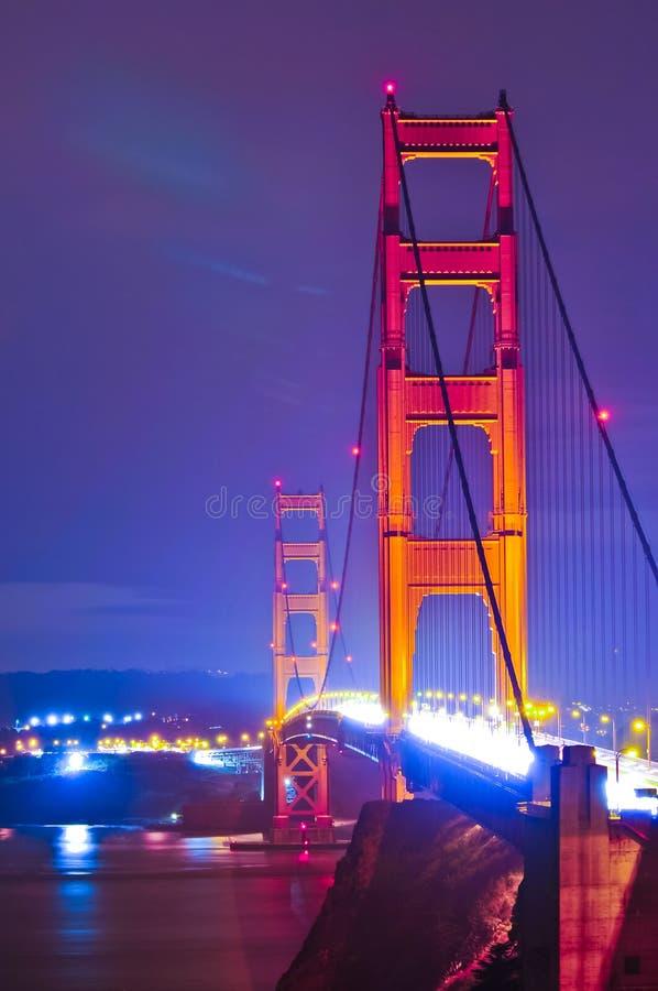 bridżowej bramy złota noc zdjęcie stock