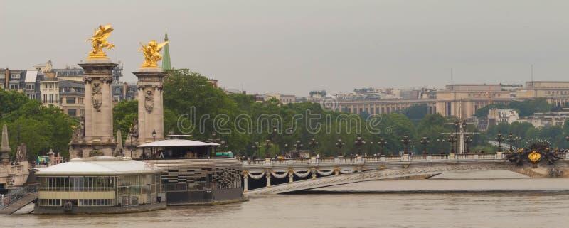 Bridżowy Alexandre III i wonton rzeka w powodzi, Paryż, Francja zdjęcie stock