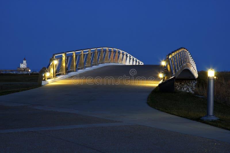 bridżowy brzeg jeziora Milwaukee pieszy fotografia stock