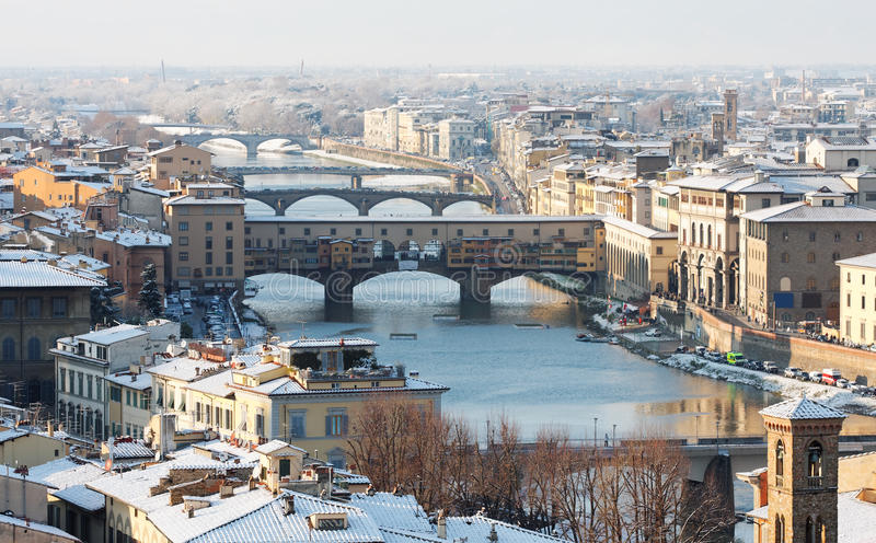 bridżowy Florence stary ponte śniegu vecchio obraz royalty free