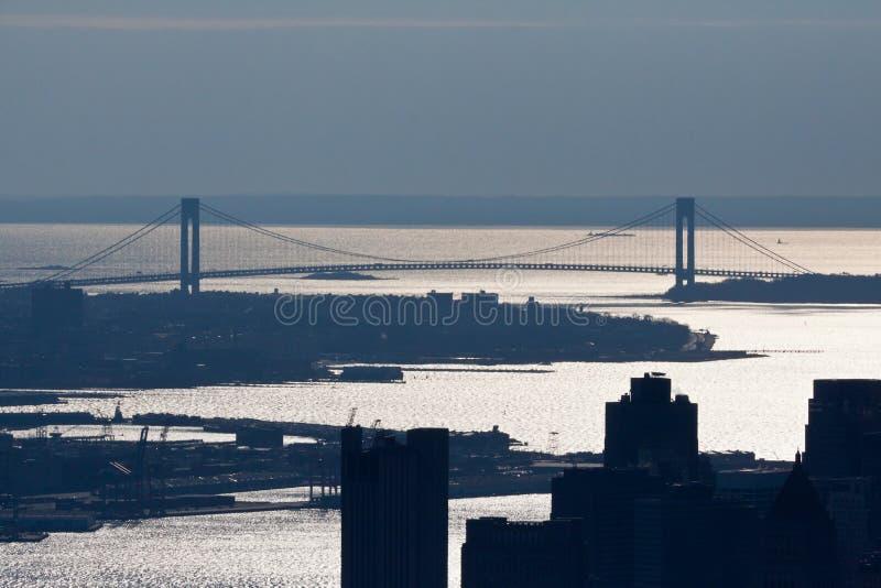 bridżowy miasto zwęża się nowego verrazano York obraz stock