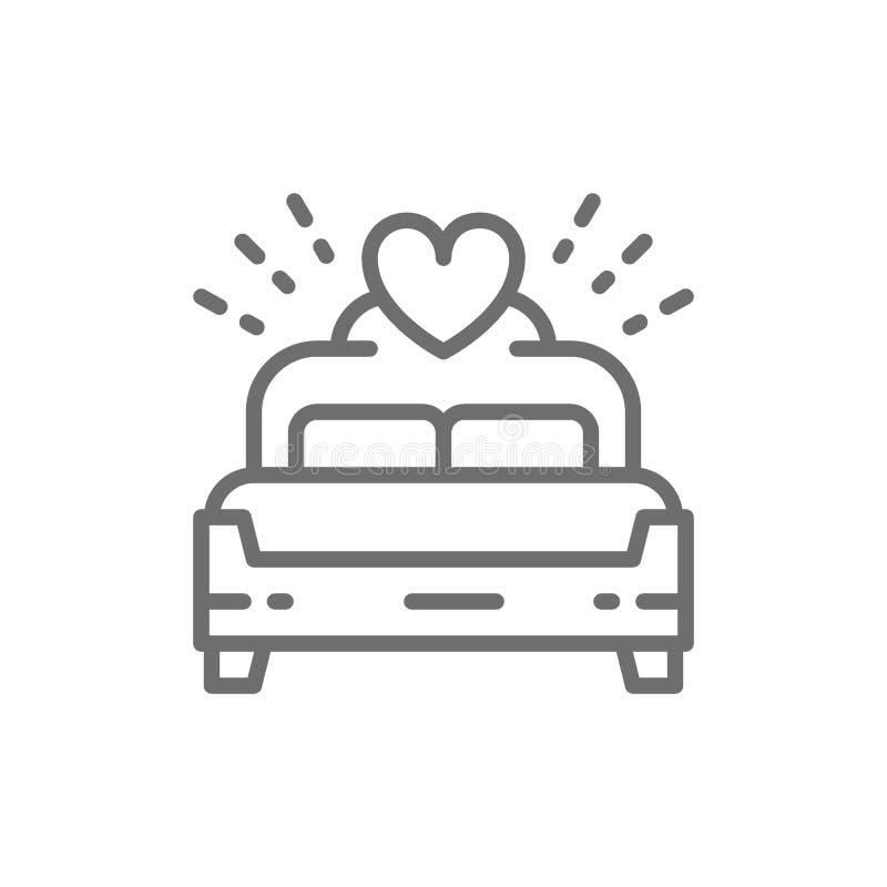 Bridal łóżko, królewiątko rozmiaru linii ikona royalty ilustracja