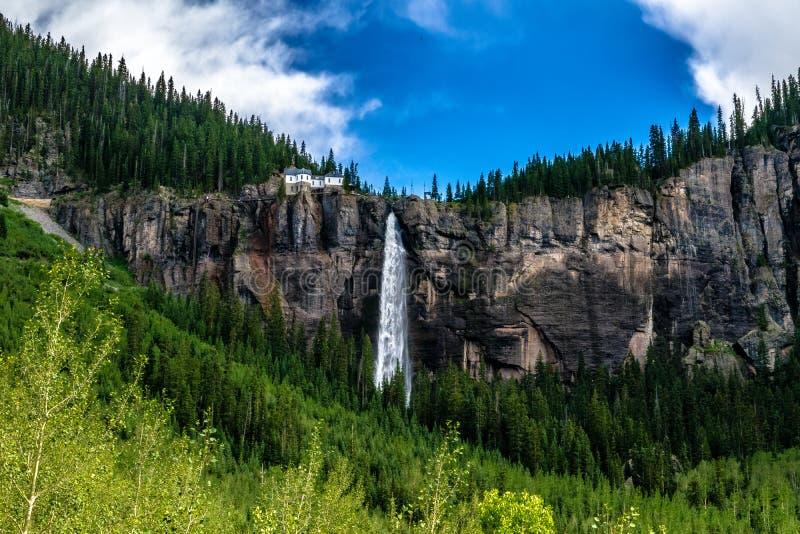 Bridal вуаль понижается в теллурид, Колорадо стоковое фото rf