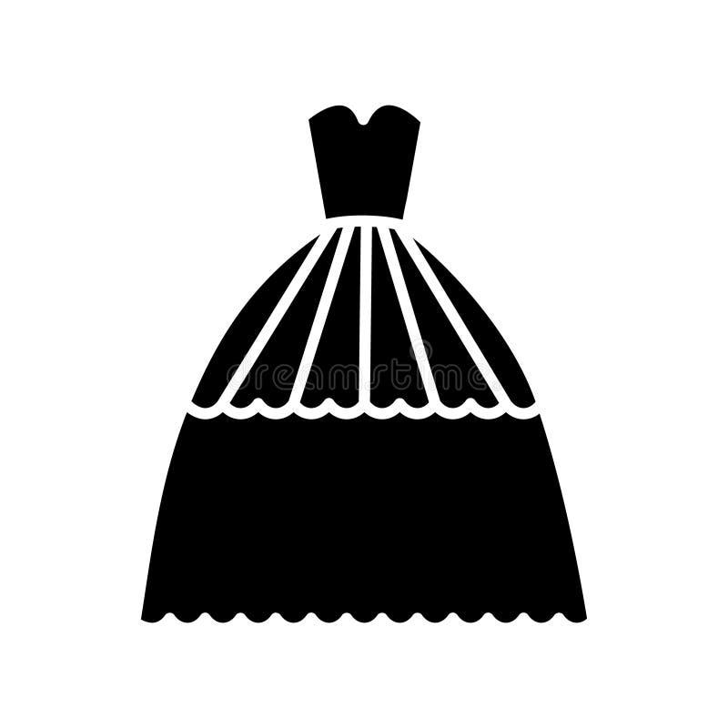 Bridal значок платья вечера, иллюстрация вектора, знак на изолированной предпосылке иллюстрация вектора