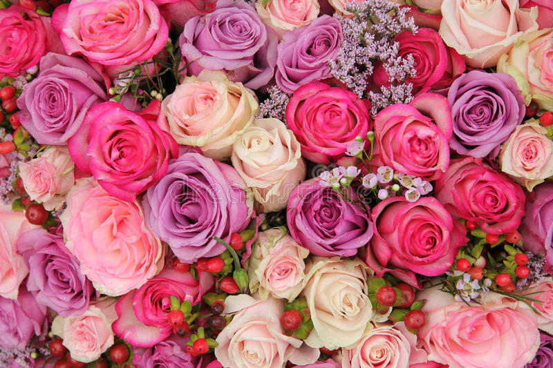 Bridal arrangement in purple and pink royalty free stock image
