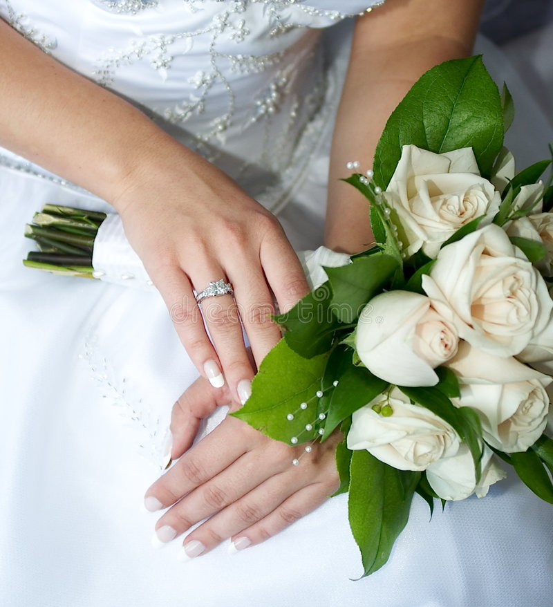 Bridal bouquet. Bride holding her bouquet stock image