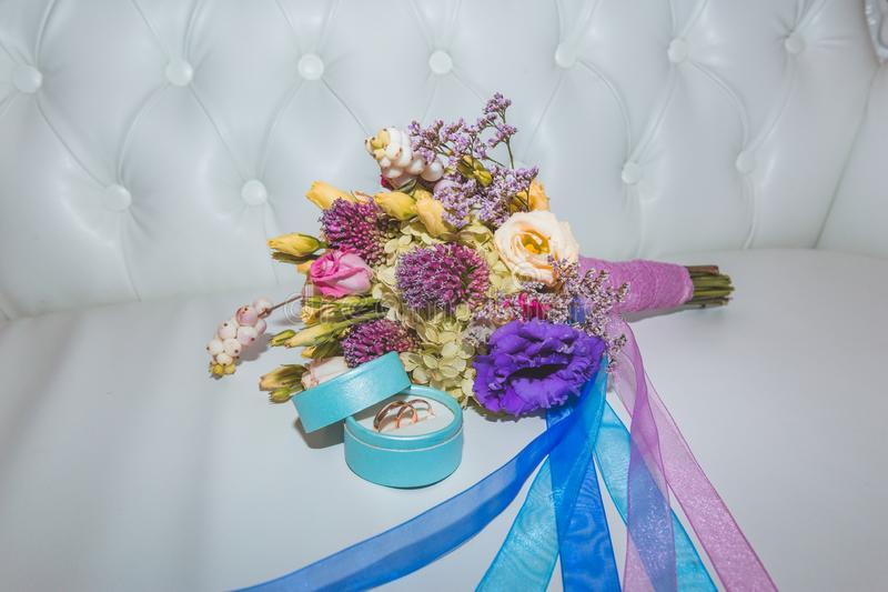 Bridal bouquet of different flowers royalty free stock photography