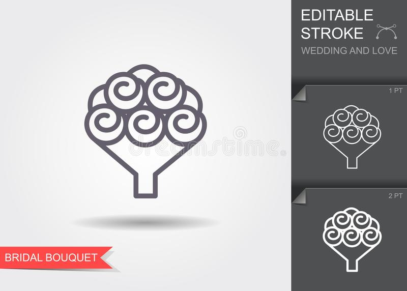 Bridal bouquet. Line icon with shadow and editable stroke royalty free illustration