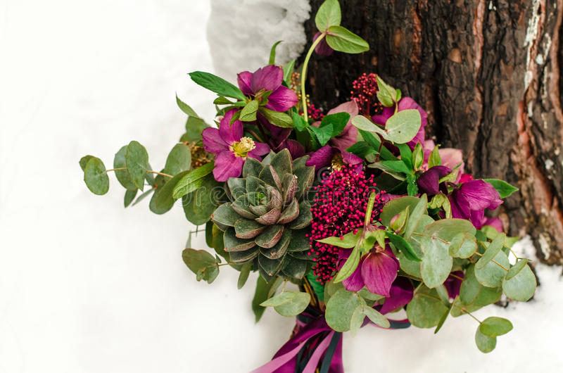 Bridal bouquet with red and burgundy colors stock photography