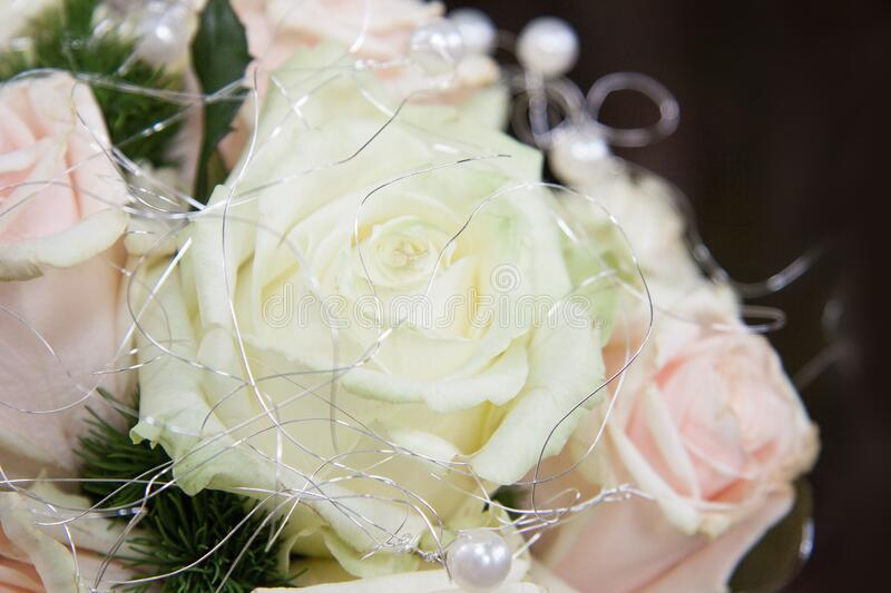 Bridal bouquet with roses stock photos