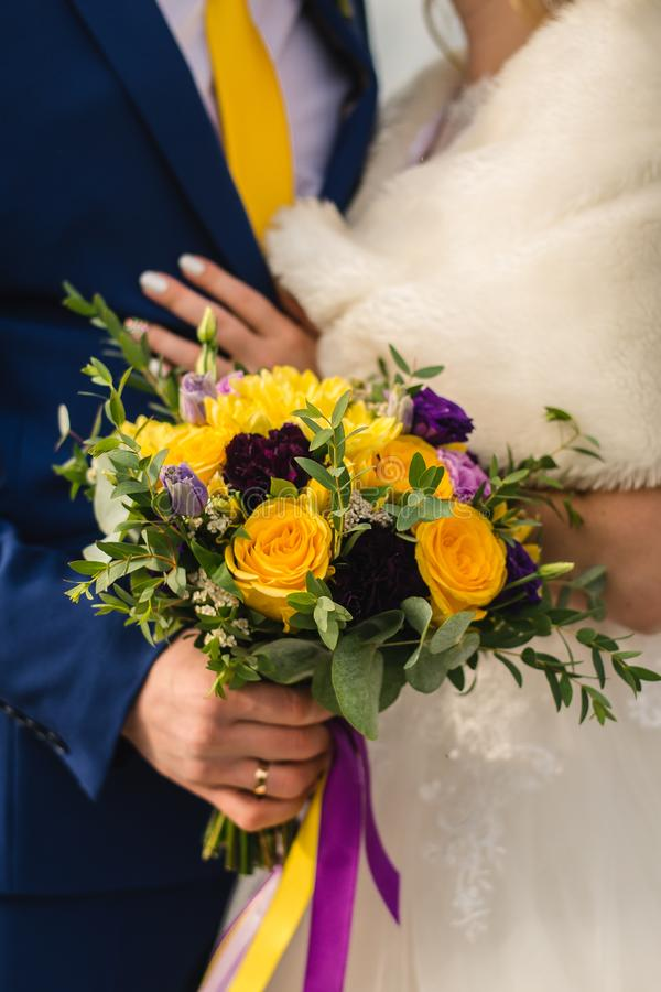 Bridal bouquet on the wedding day. stock photo