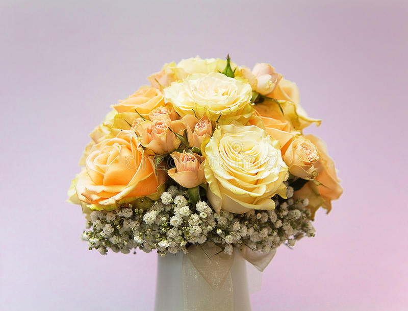 Bridal bouquet of yellow roses stock photos