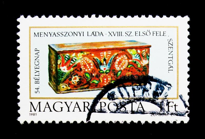 Bridal box, 54th Stamp Day - Bridal chests, serie, circa 1981. MOSCOW, RUSSIA - NOVEMBER 26, 2017: A stamp printed in Hungary shows Bridal box, 54th Stamp Day stock photo