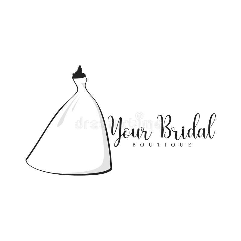 Bridal butika logo, Mannequin, moda, Piękna panna młoda, Wektorowy projekt ilustracji