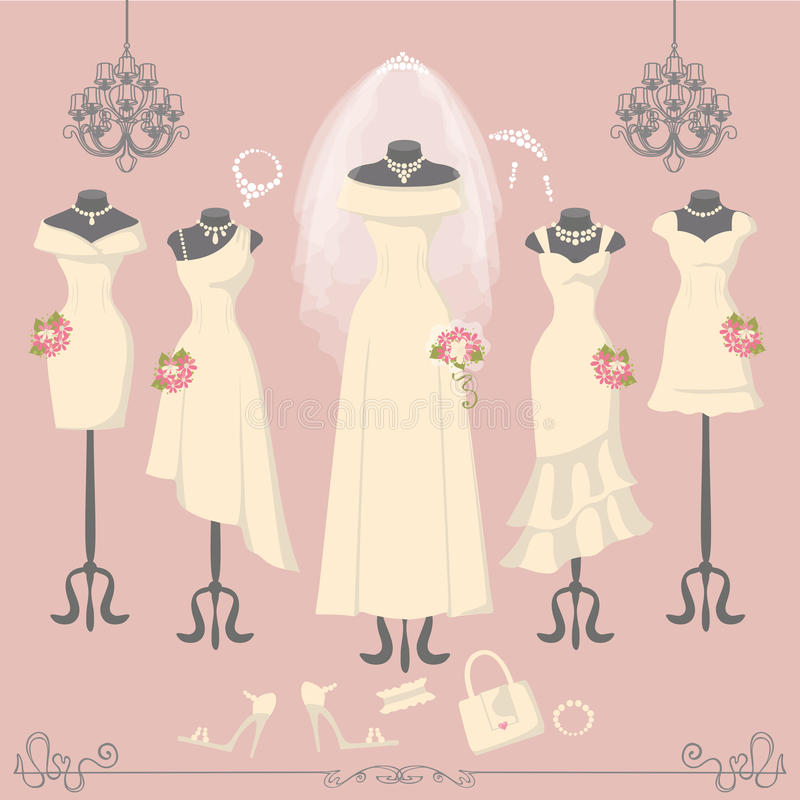 Bridal Dresses On Mannequin.Fashion Background Stock Vector ...