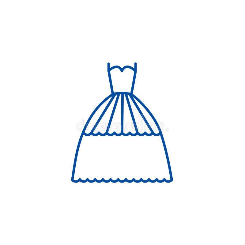 Bridal evening dress  line icon concept. Bridal evening dress  flat  vector symbol, sign, outline illustration. vector illustration