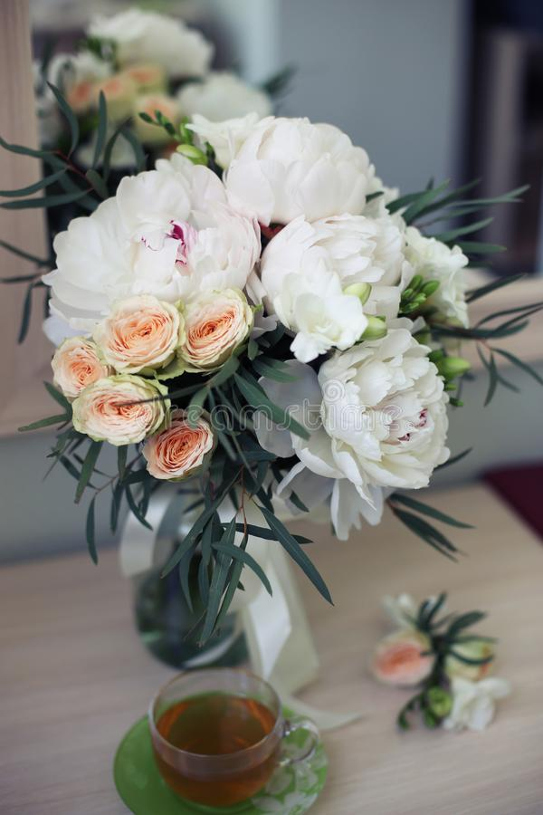 Bridal flowers and tea morning stock photography