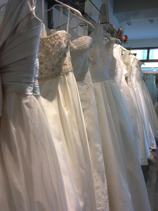 Bridal gowns in shop royalty free stock photography