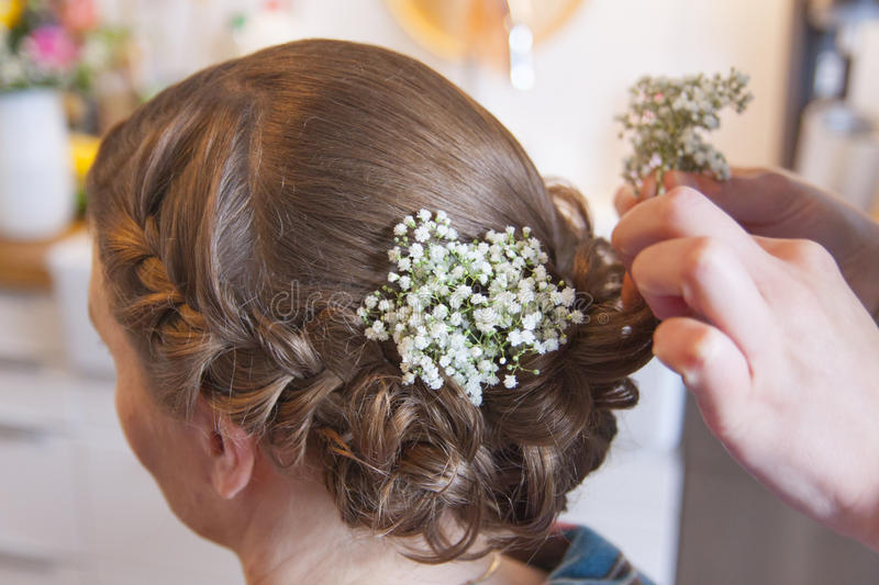 A bridal hairstyle is born royalty free stock images