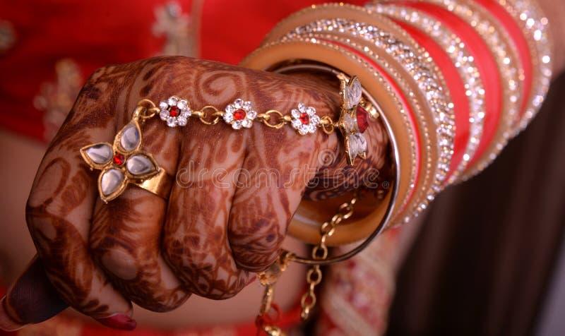 Bridal hand. Beautiful bridal hand closeup Punjabi girl stock photo